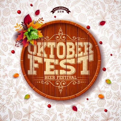 Illustrazione di Oktoberfest con tipografia sul barile di birra. vettore