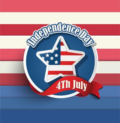 Badge del giorno dell'indipendenza americana del 4 luglio. vettore