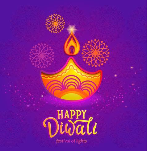 Banner carino per Happy Diwali festival di luci. vettore