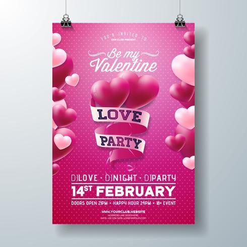 Progettazione di Flyer partito amore di San Valentino vettore