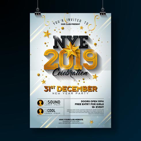 Poster di celebrazione del partito di Capodanno 2019 vettore