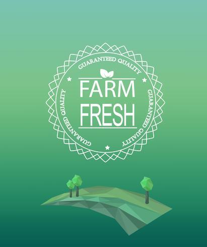 Farm fresco logo in stile contorno. vettore