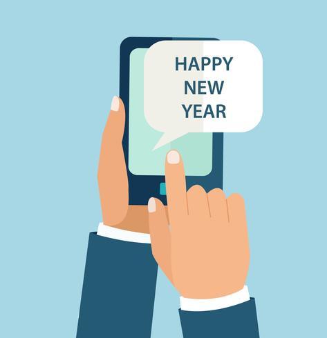 Concetto di Capodanno per app mobile. vettore