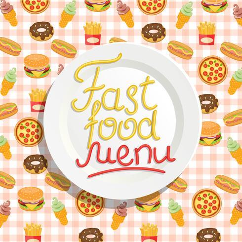 Menu fast food con piatto. vettore