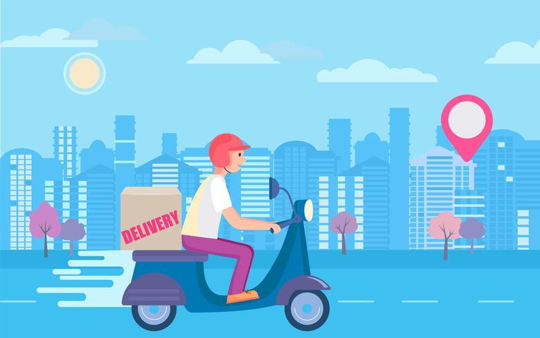 Concetto di consegna scooter rapido e gratuito. vettore