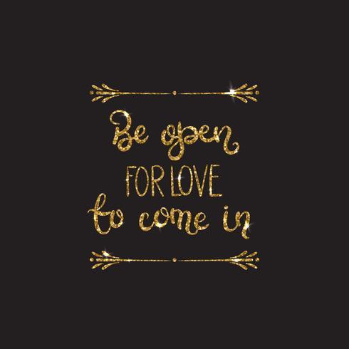 Lettering romantico con glitter. Scintillii dorati vettore