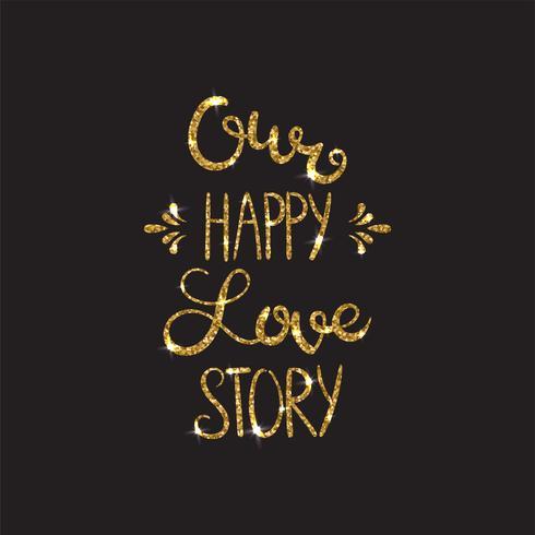 Testo d'amore Lettering romantico con glitter. Scintillii dorati vettore