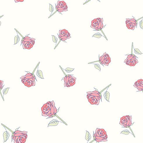Modello senza cuciture delle rose disegnate a mano vettore