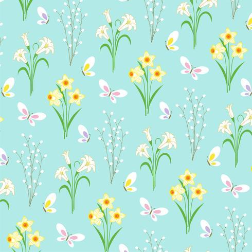 Reticolo floreale di Pasqua con le farfalle su blu-chiaro vettore