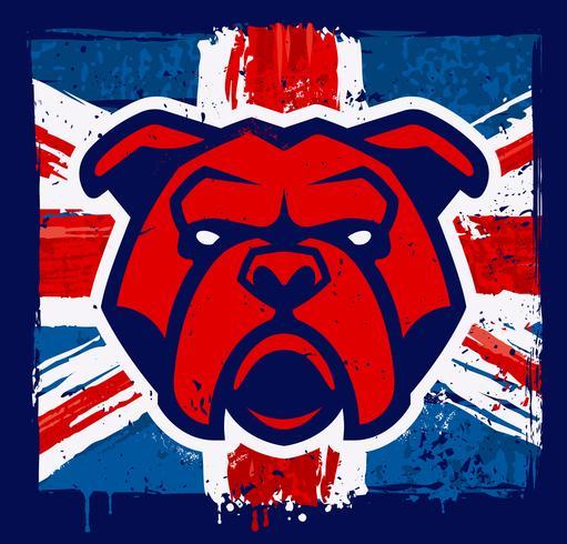 Mascotte del bulldog sulla bandierina britannica di Grunge vettore