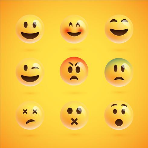 Insieme realistico giallo di emoticon, illustrazione vettoriale