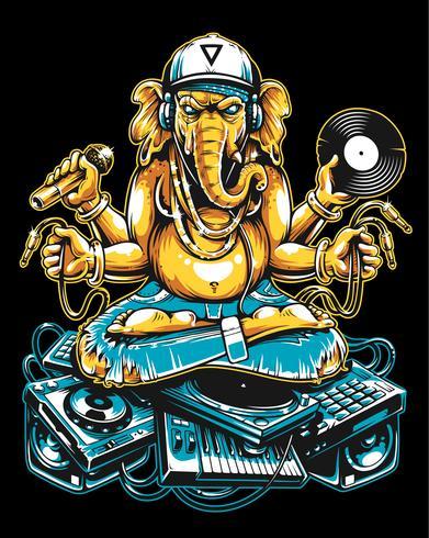 Ganesha Dj seduto su materiale musicale elettronico vettore