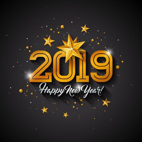 Felice Anno Nuovo 2019 Illustrazione vettore