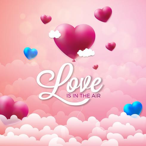 L'amore è nell'illustrazione del giorno di biglietti di S. Valentino dell'aria vettore