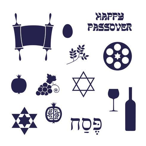 icone di passover sagoma blu vettore