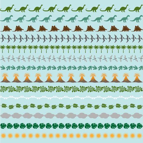 modelli di confine di dinosauro vettore