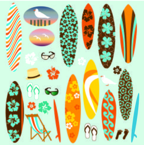 Clipart tavola da surf vettore