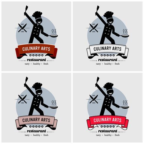 Ristorante e chef logo design. vettore