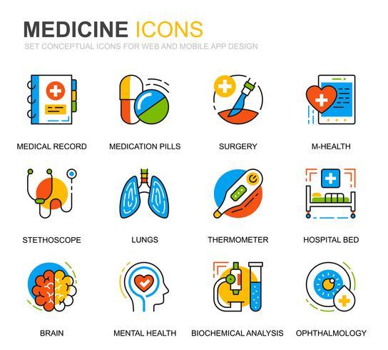 Set semplice Icone di linee mediche e mediche per applicazioni Web e mobili vettore