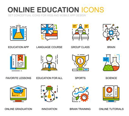 Set semplice Icone di educazione e conoscenza per applicazioni Web e mobili. vettore