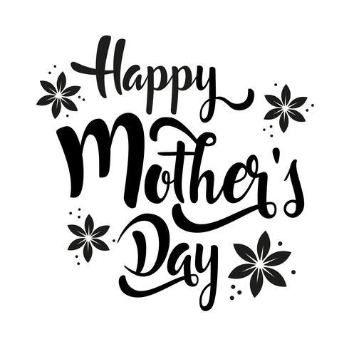 Felice festa della mamma lettering fiori di Pentecoste. vettore