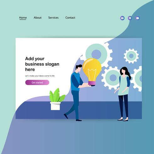 Modello di progettazione di pagine Web per riunioni di lavoro e brainstorming vettore