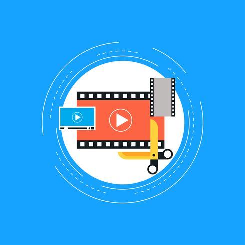 Montaggio video, produzione video, design piatto illustrazione vettoriale di montaggio