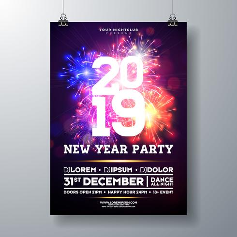 Illustrazione del manifesto di celebrazione del partito di nuovo anno 2019 vettore