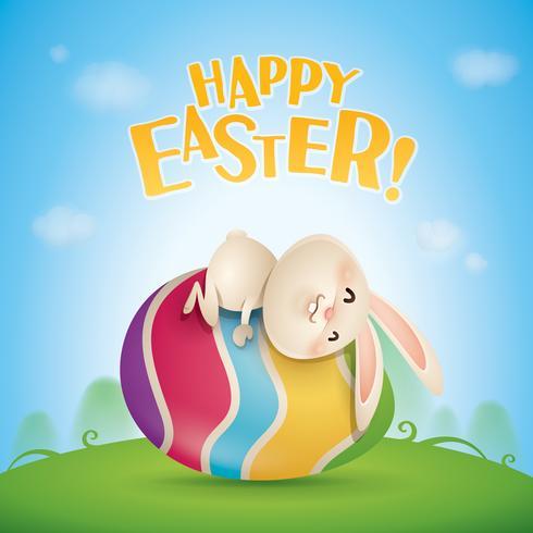 Buona Pasqua con coniglio sull'uovo vettore