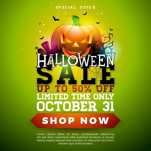 Illustrazione della bandiera di vendita di Halloween vettore
