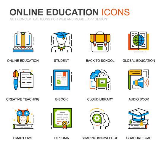 Set semplice istruzione e icone di linea di conoscenza per sito web vettore