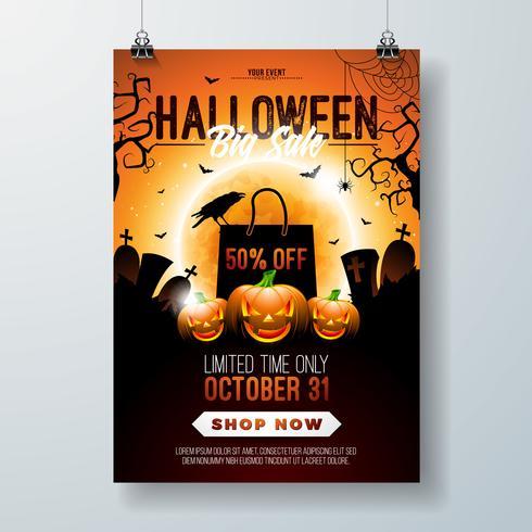 Illustrazione di volantino di vendita di Halloween vettore