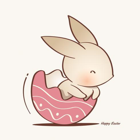 coniglio dentro un uovo di Pasqua incrinato. vettore