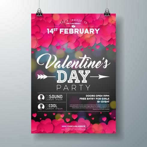 Illustrazione dell'aletta di filatoio del partito di giorno di biglietti di S. Valentino vettore