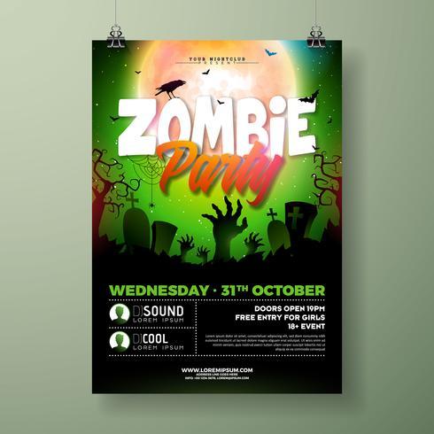 Illustrazione di Halloween Zombie Party flyer vettore