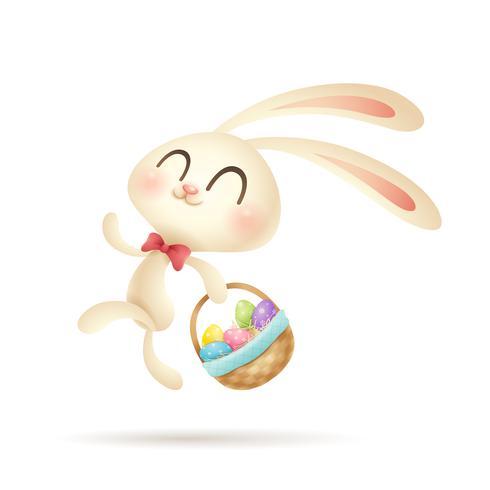 Coniglio di Pasqua con cesto di uova dipinte vettore