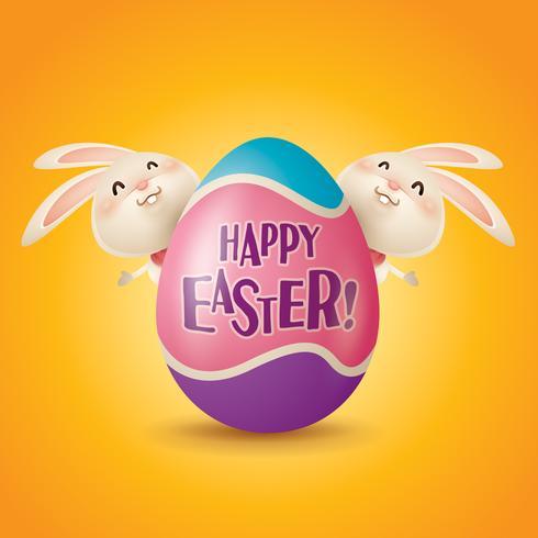 Coniglietti pasquali e uova vettore