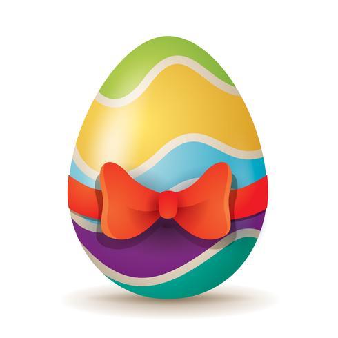 Uovo di Pasqua con nastro rosso vettore