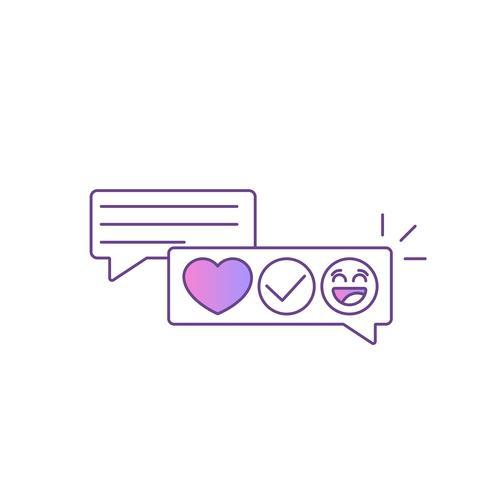 Feedback e testimonianze Messaggio con recensioni ed emoticon. Illustrazione di linea piatta vettoriale