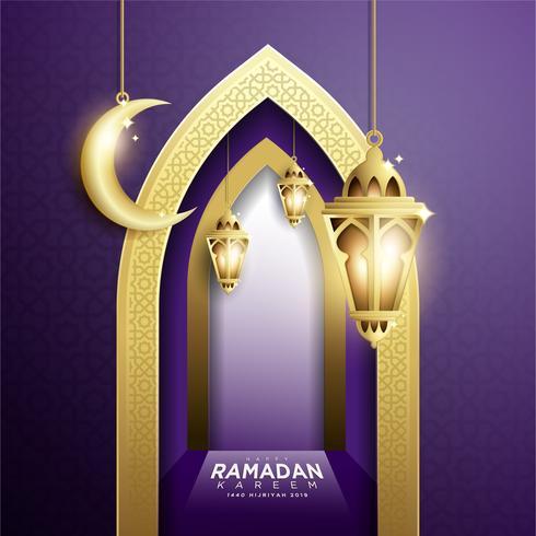 Ramadan Kareem con Hanging Fanoos Lantern e Mosque Background vettore