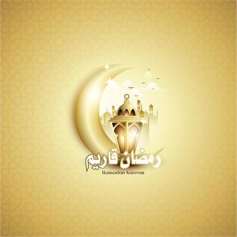Ramadan Kareem con Fanoos Lantern, Crescent, & Mosque Background vettore