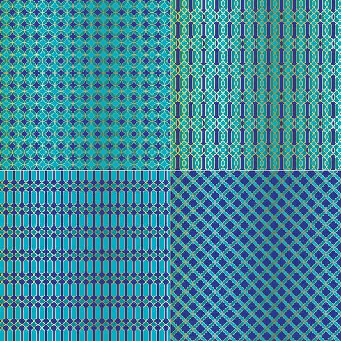 modelli di piastrelle geometriche marocchine metalliche oro blu vettore