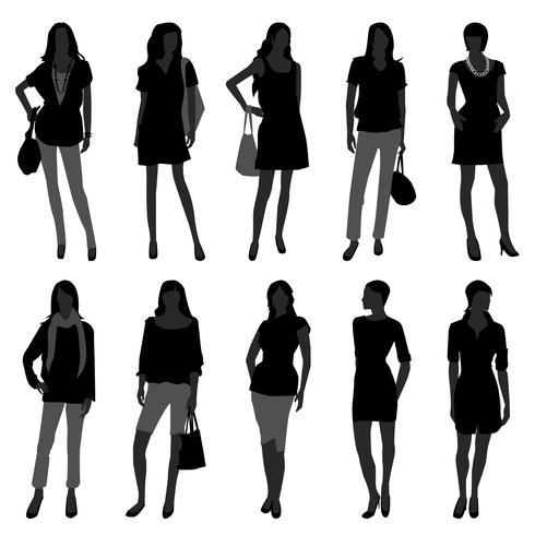 Modelli di acquisto di moda femminile. vettore