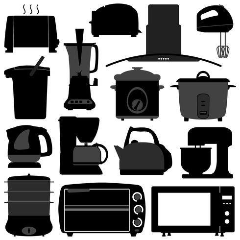 Utensili Elettronici Elettrodomestici da Cucina. vettore