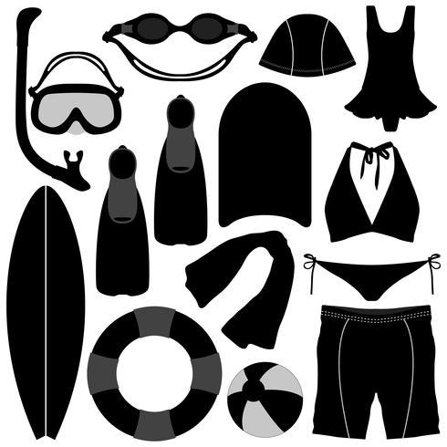 Nuoto Immersioni Snorkeling Attrezzo per attrezzature acquatiche. vettore
