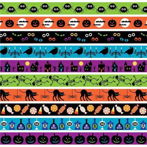 modelli di confine di halloween luminosi vettore