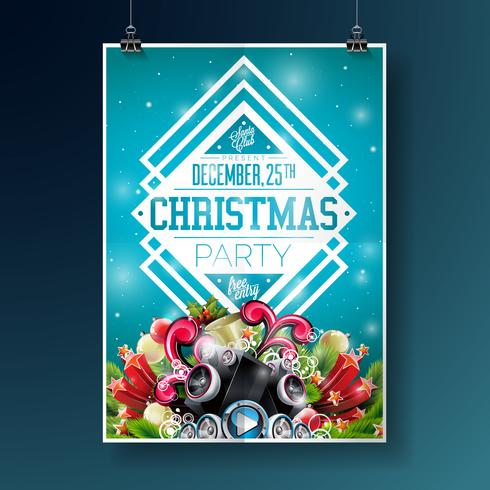 Illustrazione dell'aletta di filatoio del partito di Buon Natale vettore