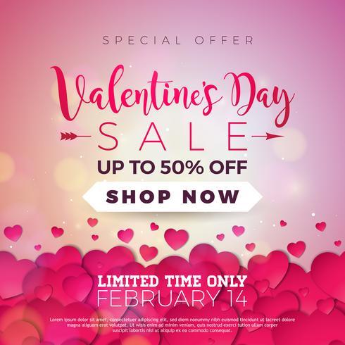 Fondo di vendita di giorno di San Valentino con cuori rossi vettore