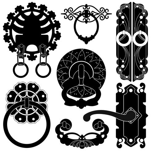 Un set di silhouette che mostra il design della maniglia della porta. vettore