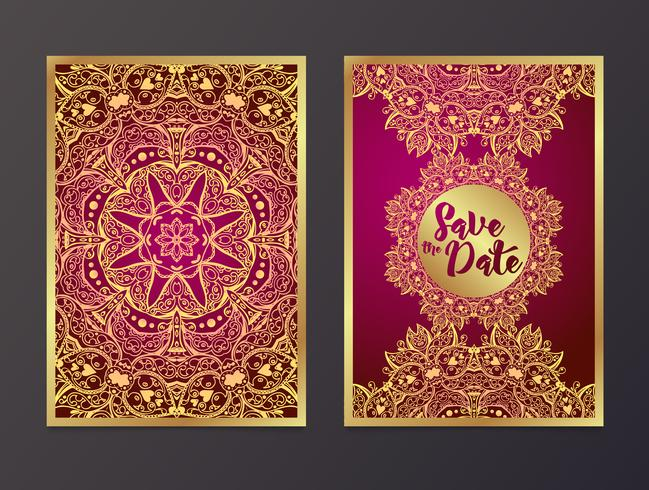 Rich Wedding Invitations, in stile indiano. vettore